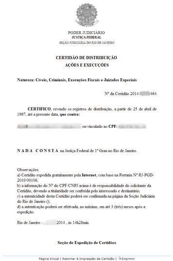 Certidão Negativa Justiça Federal