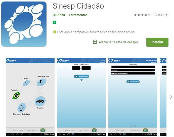 página download APP do SINESP Cidadão