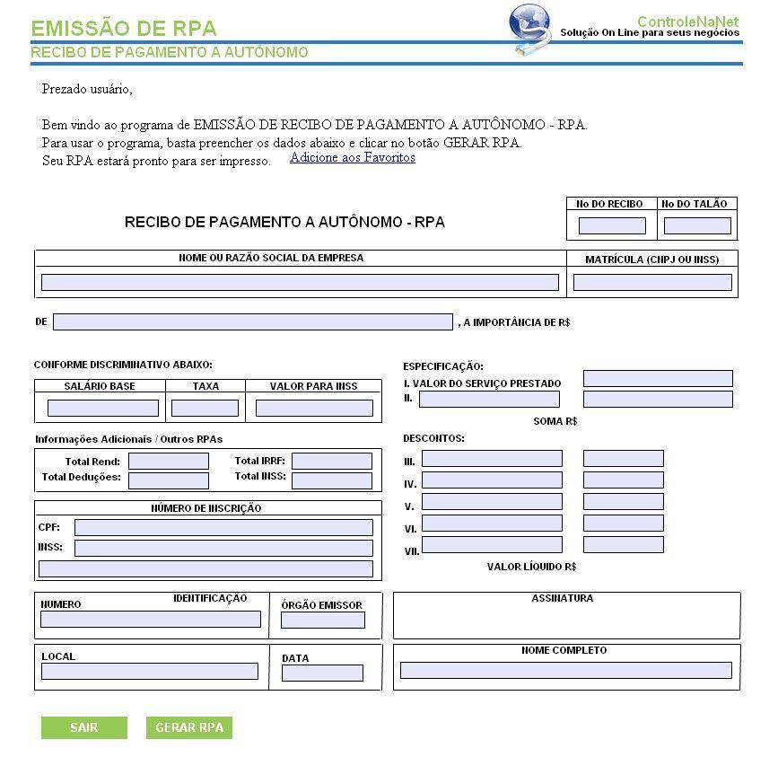 Modelo de RPA (Recibo de Pagamento Autônomo) - como fazer