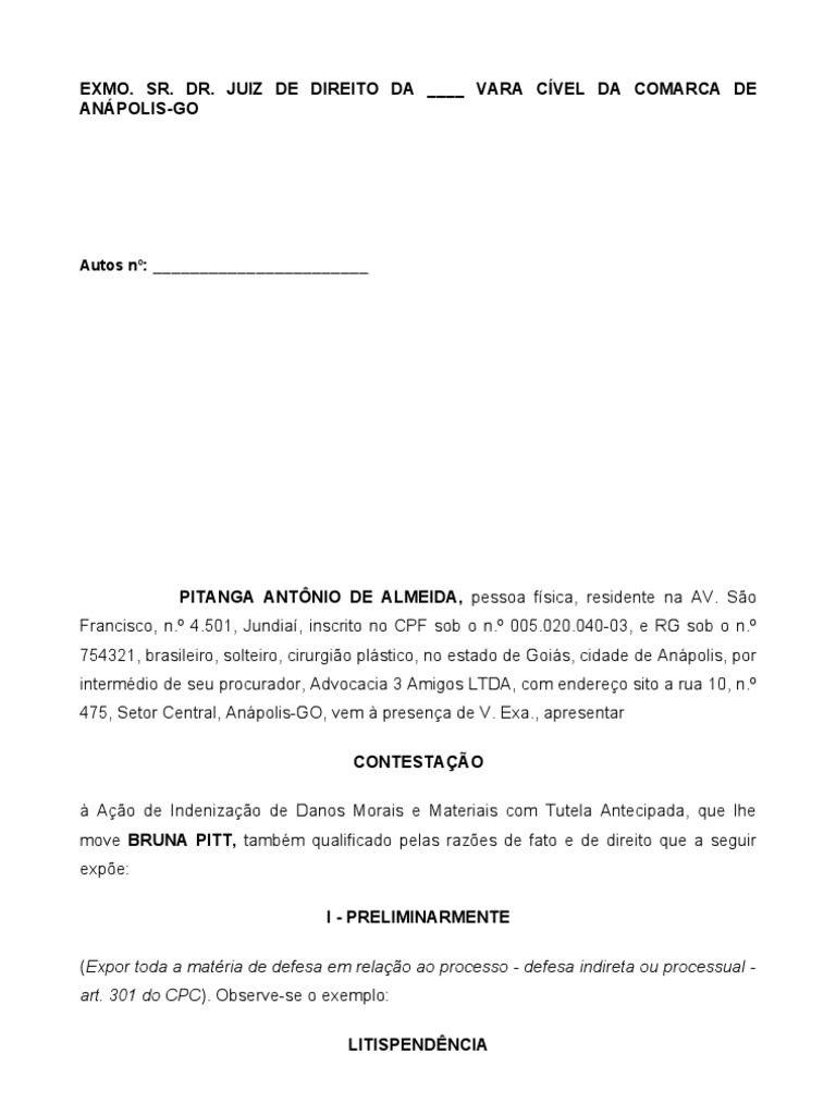 Modelo De Contestação à Ação De Redação October 2019 Serviço