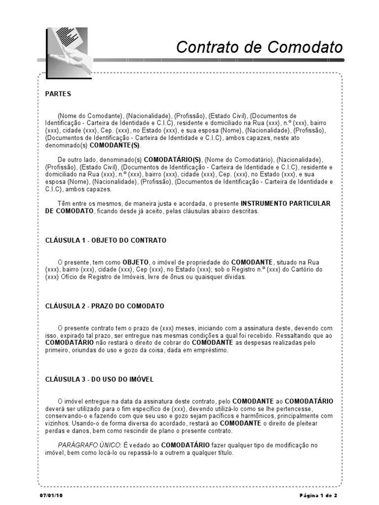 exemplo 1 de Contrato de Comodato