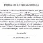 exemplo de Declaração de Hipossuficiência