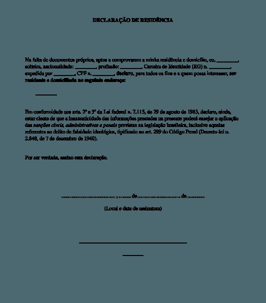 Modelo de Declaração de Endereço 1