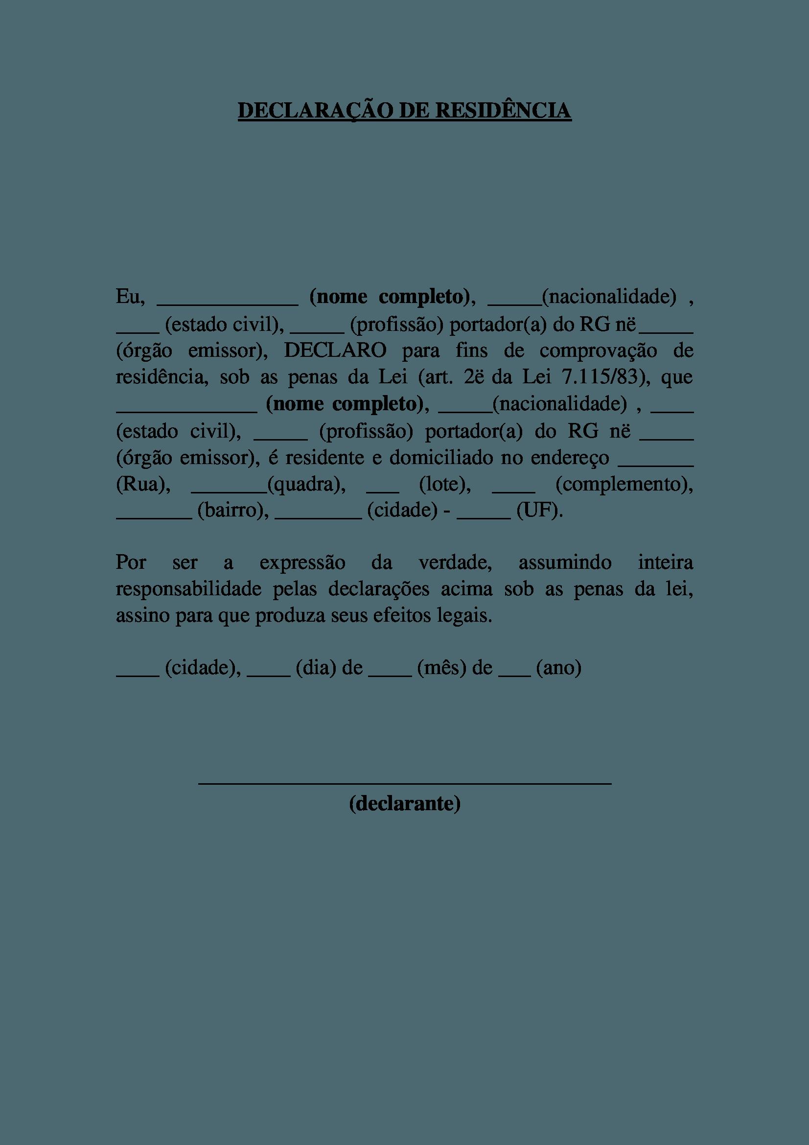 modelo declaração de residência 1