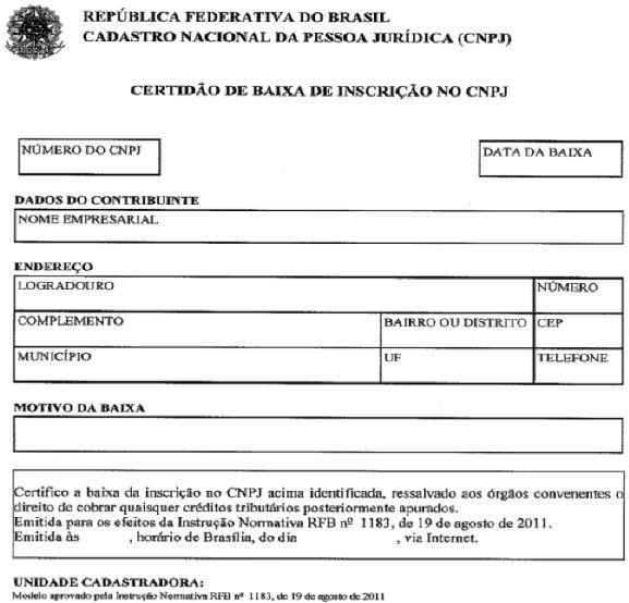 certidão de baixa do CNPJ