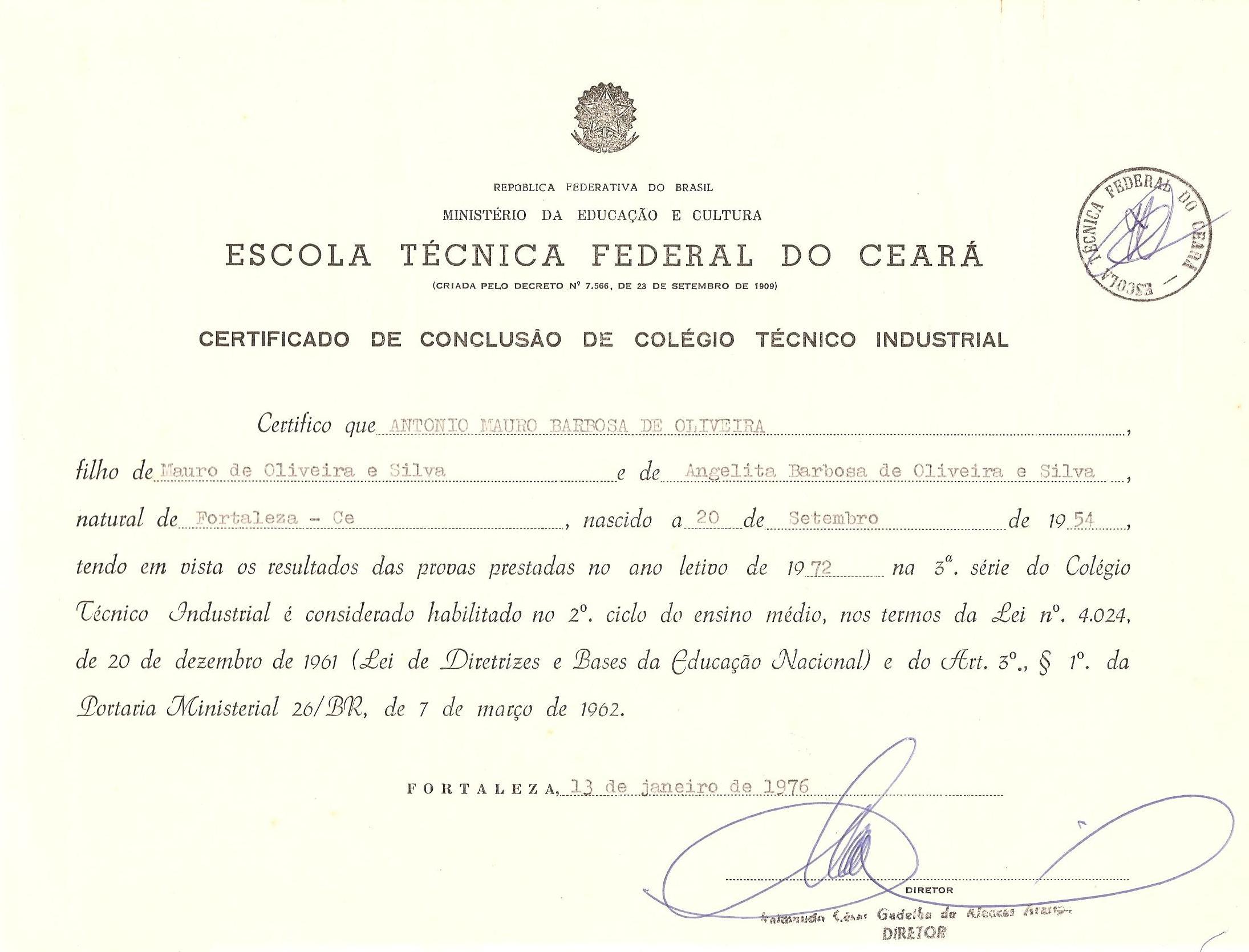 diploma de técnico