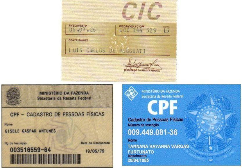 modelos de CIC e CPF